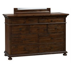 Jofran Geneva Hills 9 Drawer Dresser in Rustic Brown