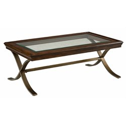 Jofran Ashland Glass Top Coffee Table in Rich Chocolate