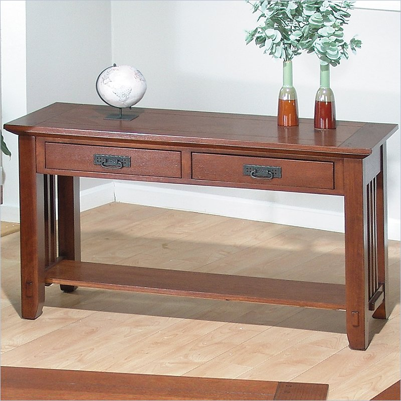 036 Series Wood Sofa Table in Brown Mission Oak