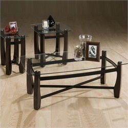 Jofran Tania 3 Piece Rectangular Glass Top Cocktail Table Set in Espresso