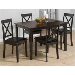 Jofran 261 Series 5 Piece Dining Table Set in Burly Brown and Black