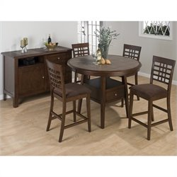 Jofran 976 Series 5 Piece Round Counter Height Dining Set in Brown
