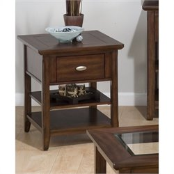 Jofran 709 Series End Table in Bellingham Brown Finish