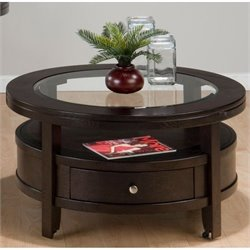 Jofran Marlon Round Wood Coffee Table in Wenge