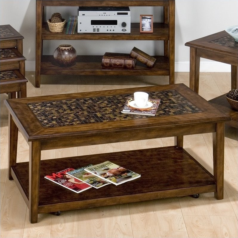 Jofran Baroque Cocktail Table with Mosaic Tile Inlay in Brown