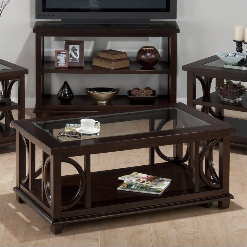 Jofran Panama Rectangle Cocktail Table with Glass Insert in Brown
