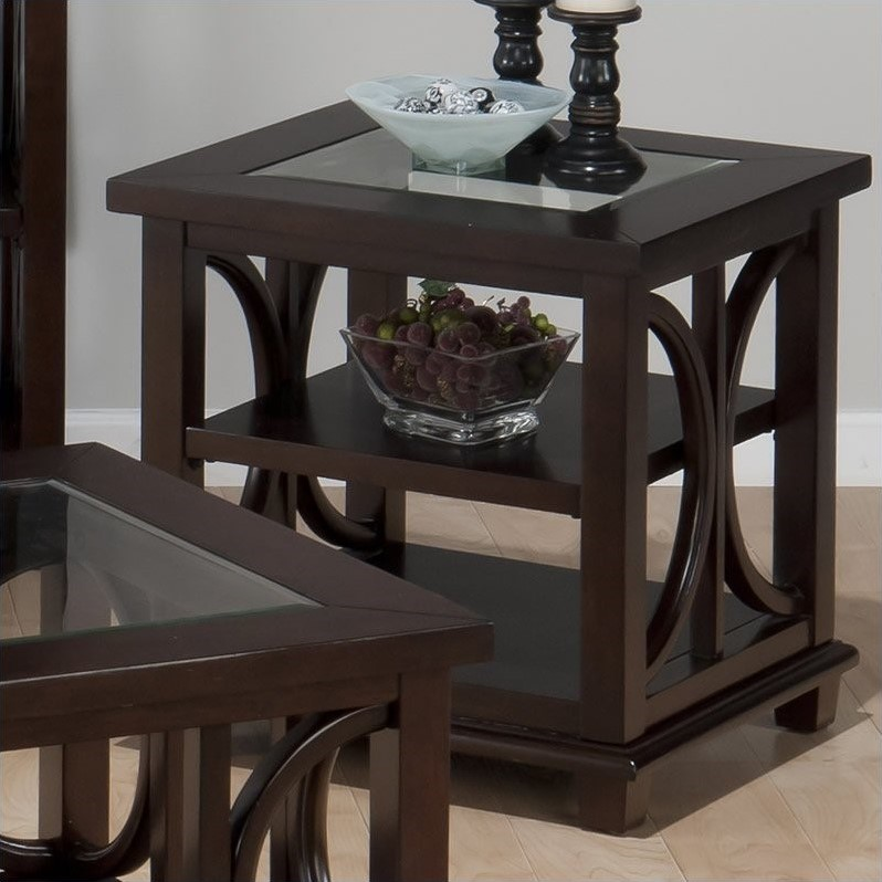 Jofran Panama End Table with Tempered Glass Insert in Brown