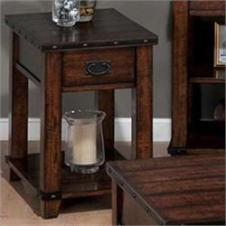 Jofran Chairside Table in Cassidy Brown Finish