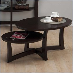 Jofran Asymetrical Oval Coffee Table in Skylah Espresso