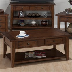 Jofran Double Header Coffee Table in Clay County Oak