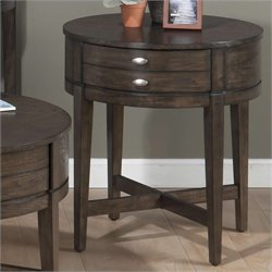 Jofran Miniatures Round End Table in Antique Gray Ash