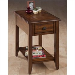 Jofran Chairside Table in Medium Brown Finish