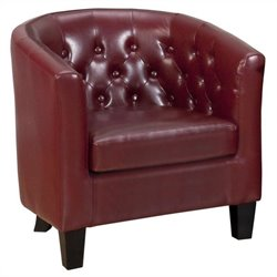 Jofran Gianni Tufted Club Barrel Chair in Red