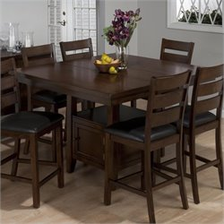 Jofran Counter Height Double Header Dining Table in Taylor Brown Cherry