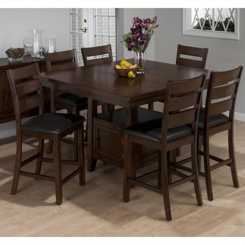 Jofran 7 Piece Counter Height Dining Set in Taylor Brown Cherry