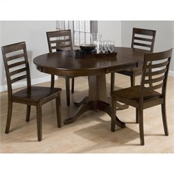 Jofran 5 Piece Round to Oval Slat Back Dining Set in Taylor Cherry