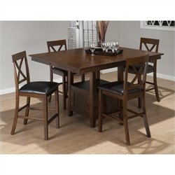Jofran 5 Piece Counter Height Dining Set in Olsen Oak