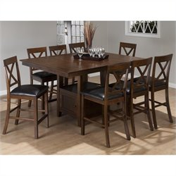 Jofran 9 Piece Counter Height Dining Set in Olsen Oak