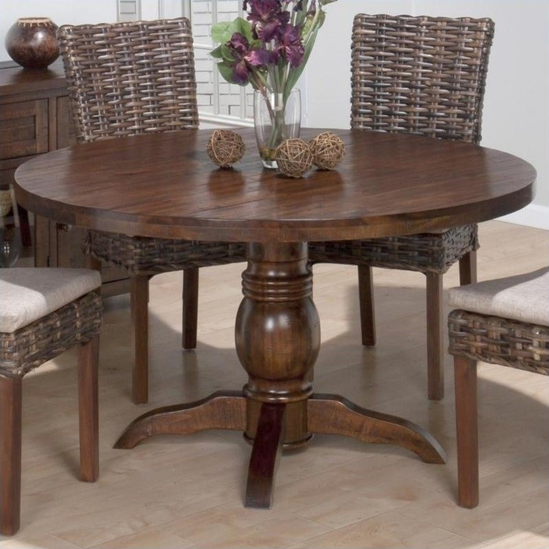 Round Pedestal Dining Table in Urban Lodge Brown