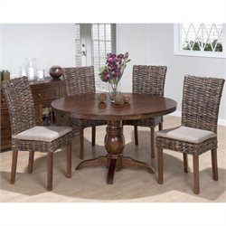 Jofran 5 Piece Round Dining Set with Rattan Chairs in Urban Lodge Brown