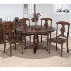 Jofran 5 Piece Round Dining Set with Napoleon Chairs in Urban Lodge Brown