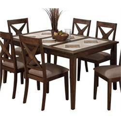 Jofran Tri-Colored Tile Top Dining Table in Tucson Brown