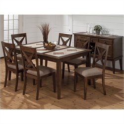 Jofran 7 Piece Tri-Colored Tile Top Dining Set in Tucson Brown
