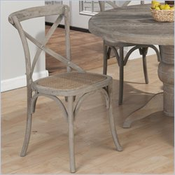 Jofran X Back Solid Oak Side Chair in Burnt Grey (set of 2)