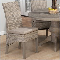 Jofran Kubu Rattan Dining Side Chair in Burnt Grey (set of 2)