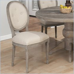 Jofran Solid Oak Oval Upholstered Side Chair in Burnt Grey (set of 2)