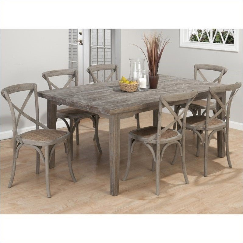 Jofran Solid Oak Rectangular Leg Dining Table in Burnt Grey