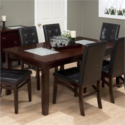 Jofran Rectangle Extension Dining Table with Glass Inserts in Chadwick Espresso