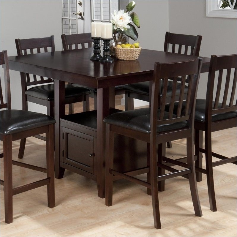 Jofran Counter Height Square Storage Dining Table In Tessa