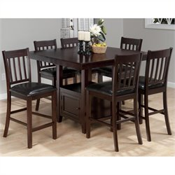Jofran 7 Piece Counter Height Slat Back Dining Set in Tessa Chianti