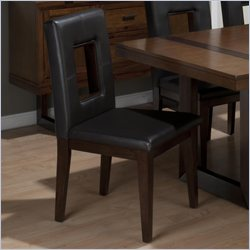Jofran Faux Leather Window Pane Side Chair in Winnifred Oak (set of 2)