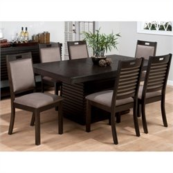 Jofran 588 Series 7 Piece Oak Rectangle Table and Hamilton Chair Set in Sensei Oak