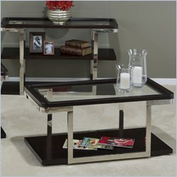 Jofran 329 Series Cocktail Table with Bottom Shelf in Skyline Merlot