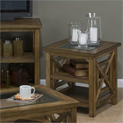 Jofran 582 Series End Table with Block Legs in Brady Birch