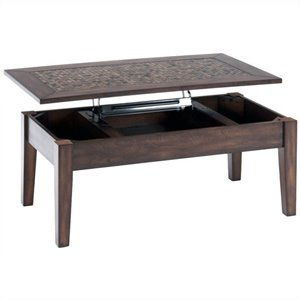 Jofran 698 Series Lift Top Cocktail Table with Tile Inlay in Baroque Brown