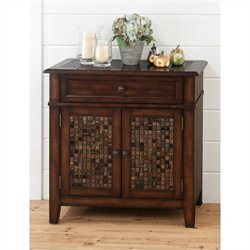 Jofran 698 Series Accent Cabinet with Tile Inlay jn Baroque Brown