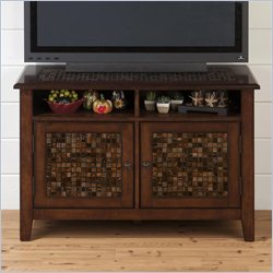 Jofran 698 Series Media Cabinet with Tile Inlay in Baroque Brown