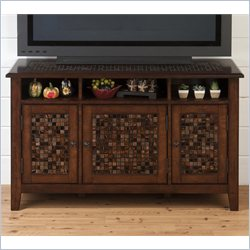Jofran 698 Series Elegant Media Cabinet with Tile Inlay in Baroque Brown
