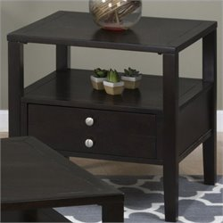 Jofran 975 Series End Table with Drawer and Shelf in Hamilton Espresso