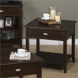 Jofran 1030 Series End Table with Drawer and Shelf in Merlot