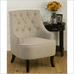 Jofran Upholstered Tufted Accent Swayback Chair in Ivory
