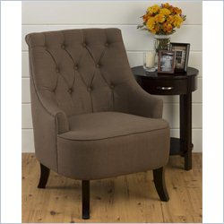 Jofran Upholstered Tufted Accent Swayback Chair in Brown