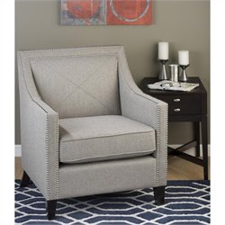 Jofran Upholstered Accent Ash Luca Club Chair with Nail Head Trim