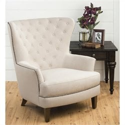 Jofran Upholstered Accent Conner Tufted Arm Chair in Brown