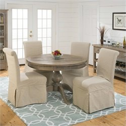 Jofran 941 Series Slipcover Skirted Parson Chairs in Slater Mill Pine (Set of 2)