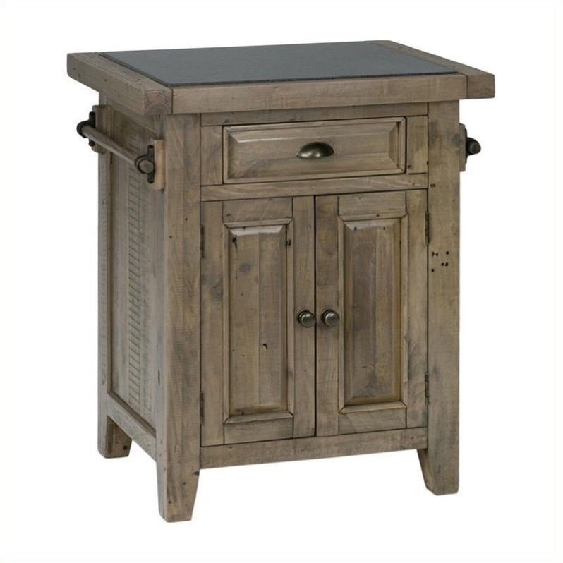 Jofran 941 Small Kitchen Island with Granite Top in Slater Mill Pine